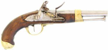 Steinschlosspistole, F-Ord. AN XIII, Kal. 17.6mm@ Herstellerangaben auf der Schlossplatte nicht