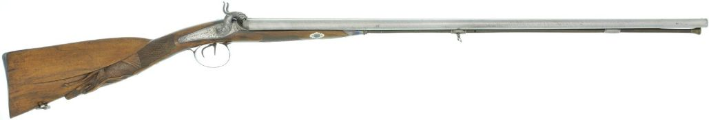 Perkussionsflinte, Saumon Dubuc, Kal. 20@ LL 775mm, TL 1210mm, Damastläufe, blank poliert.