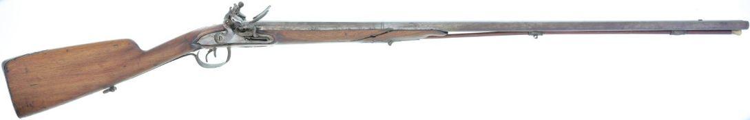 Steinschlossdoppeflinte Französisch, Kal. 14mm@ LL 750mm, TL 1170mm, Damastläufe blank berieben,