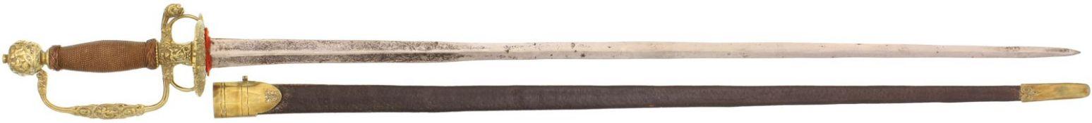 Degen, ®Galadegen¯, französisch, um 1770@ Zweischneidige Colichemardeklinge mit verwischten