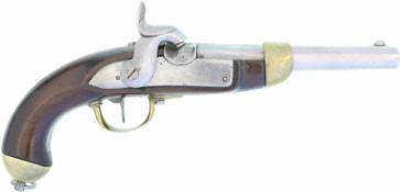Perkussionspistole, Mod. 1842, Hersteller Beuret FrŠres, Liege. Kal. 17.6mm@ LL 180mm, TL 370mm.