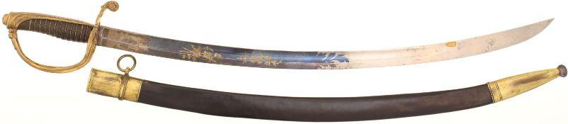 Offizierskavalleriesäbel um 1850@ KL 72cm, gebogene Rückenklinge mit beidseitiger Hohlbahn,