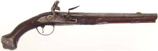 Steinschlosspistole, französisch um 1760, Kal. 15.5mm@ 33cm langer Rundlauf mit achtkantiger Wurzel,