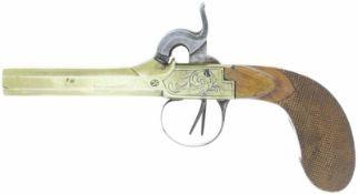 Perkussions-Reisepistole, doppelläufig, Kal. 9mm@ LL 90mm, TL 195mm, Kastenschloss, Messingguss.