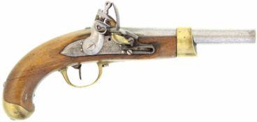 "Steinschlosspistole, F-Ord. AN XIII, Kal. 17.6mm@ Schlossplatte signiert: ""Manuf. Imp. St. Etienne"","