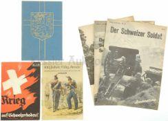 Konvolut von 6 Büchern CH-Armee 1848-1948 1. Krieg auf Schweizerboden? von Max Barthell, 2. 100
