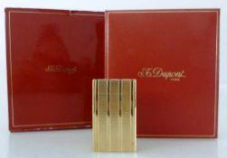 Dupont Paris, Feuerzeug im orig. Etui und Beschreibung, Garantiekarte, erworben 1990, vergoldet,
