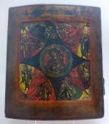 Ikone, Russland um 1800, Maria im Strahlenkranz, umgeben von Aposteln und Heiligen, 31cm x 26cm