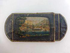Zigarrenetui 1.H.19.Jh., braunes geprägtes Leder mit feiner Ziselierung und Bemalung, Altersschäden,