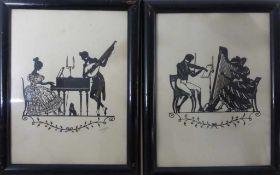"""Paar Scherenschnitte, deutsch, 1920er Jahre, """"Frau am Spinett / Mann mit Laute"""" u. """"Frau an"""