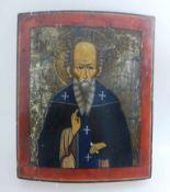 Ikone, Südrussland 1.H.19.Jh., Darstellung eines Mönches, infolge fehlender Namensinschrift ist er