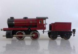 Märklin Dampflok 970, Spur 0, Uhrwerkantrieb, rot/schwarz, mit Tender, Metall lackiert