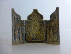 Reiseikone, Bronze, Russland, 18./19.Jh., 3-flügliges Triptychon, bestehend aus drei Altarflügeln