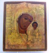 Ikone, Südrussland Ende 19.Jh., Gottesmutter Kasanskaja, zur linken segnendes Jesukind, 35,1cm x