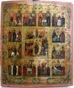 Festtagsikone, Russland 18./19.Jh., Alt- und Neutestamentarische Darstellungen um Mittelikone,