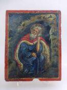 Ikone, Griechenland Anfang 19.Jh., Prophet Elias in der Höhle, 23cm x 18cm, Altersschäden