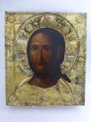 """Ikone, Russland / Ukraine frühes 19.Jh., """"Christus, das grimmige Auge"""", über der Ikone eine"""