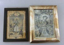 """2 religiöse Kupferstiche, 18.Jh., """"Der gute Hirte"""" und """"Hl. Maria"""", i.R. je ca. 17cm x 12cm"""