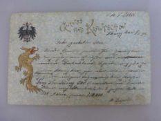 Marine Schiffspost der S.M.S. Iltis, gel. am 1.X.1899 / Shanghai nach Thüngersheim bei Würzburg,