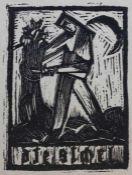 """Holzschnitt - Josef Achmann (1885 Regensburg - 1958 Schliersee) """"Schnitter - Titelvignette zur"""