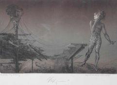 """Farbradierung - Klaus Kugler (1942 Wostitz) """"Die Maske"""", Farbprobe von Hand überarbeitet, r.u."""