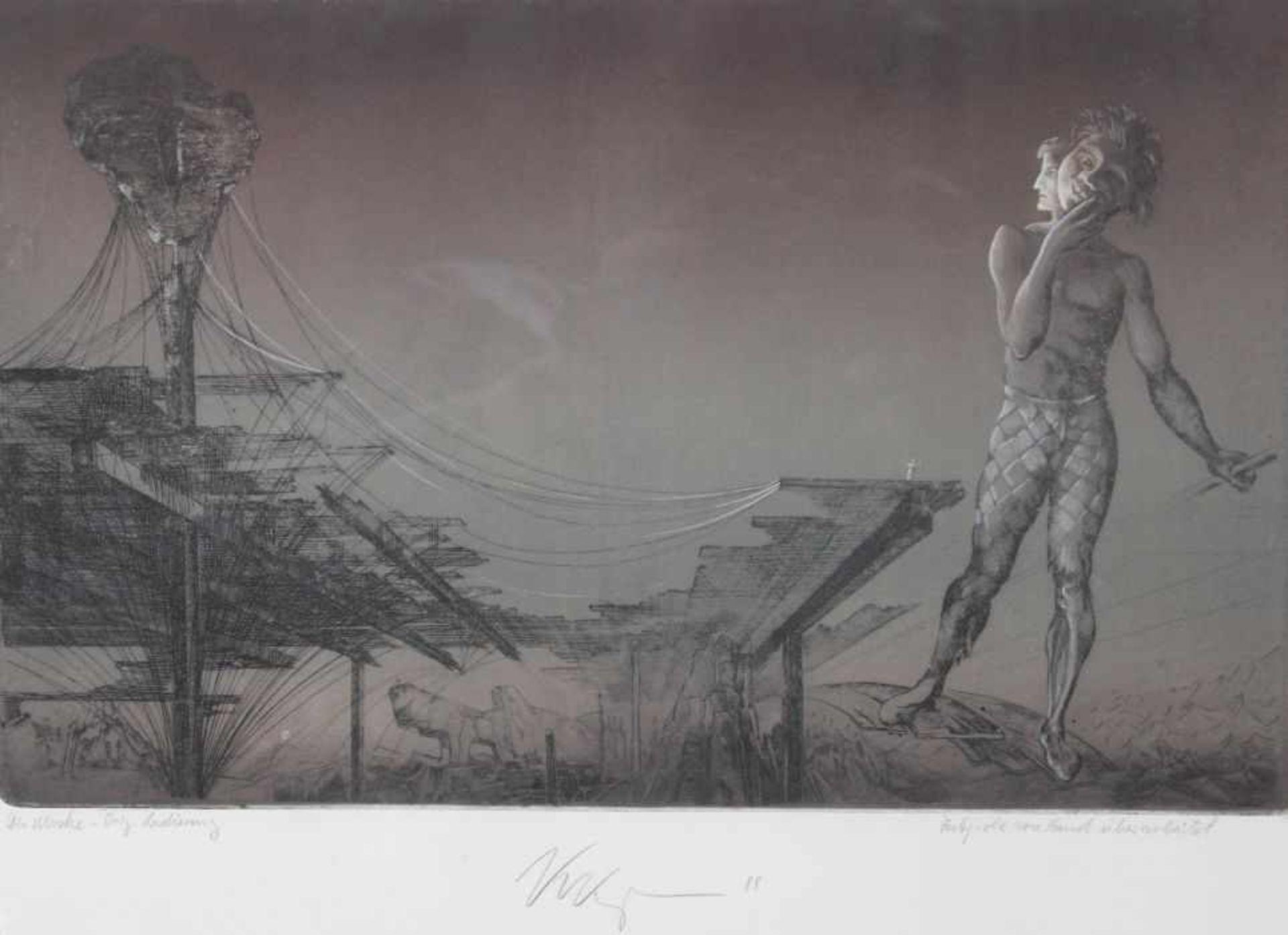 """Los 55 - Farbradierung - Klaus Kugler (1942 Wostitz) """"Die Maske"""", Farbprobe von Hand überarbeitet, r.u."""