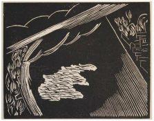 """Holzschnitt - Josef Achmann (1885 Regensburg - 1958 Schliersee) """"Donau I"""", unsigniert, Plattenmaße"""