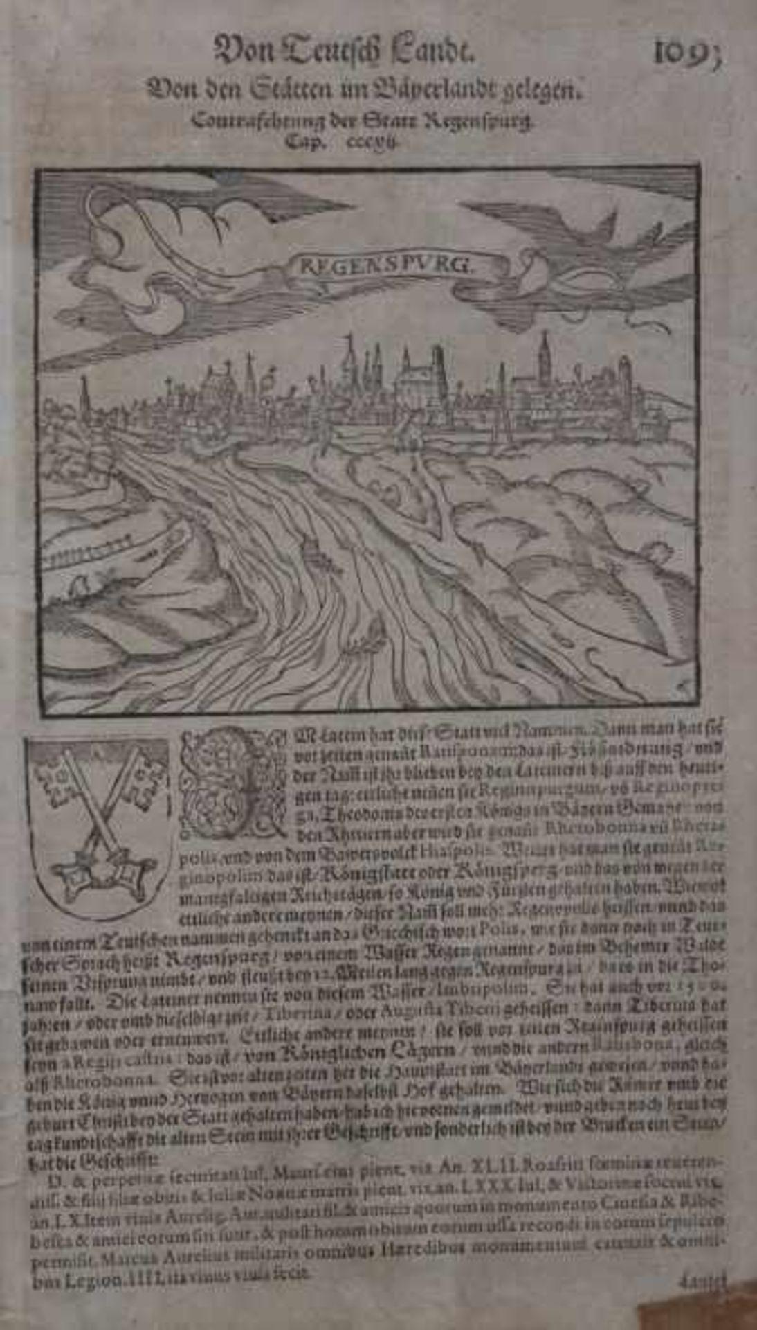 """Los 40 - Holzschnitt - Sebastian Münster (1488 Ingelheim - 1552 Basel) """"Regensburg, in Wirklichkeit"""