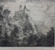 """Lithographie von Domenico Quaglio (1787 München -1837 im Schloss Hohenschwangau) """"Schloss Kipfenberg"""