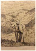 """Radierung - Hans Thoma (1839 Oberlehen / Schwarzwald - 1924 Karlsruhe) """"Wanderer"""", r.u."""