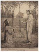 "Radierung - Hans Thoma (1839 Oberlehen / Schwarzwald - 1924 Karlsruhe) ""Sakrale Szene mit Christus"","