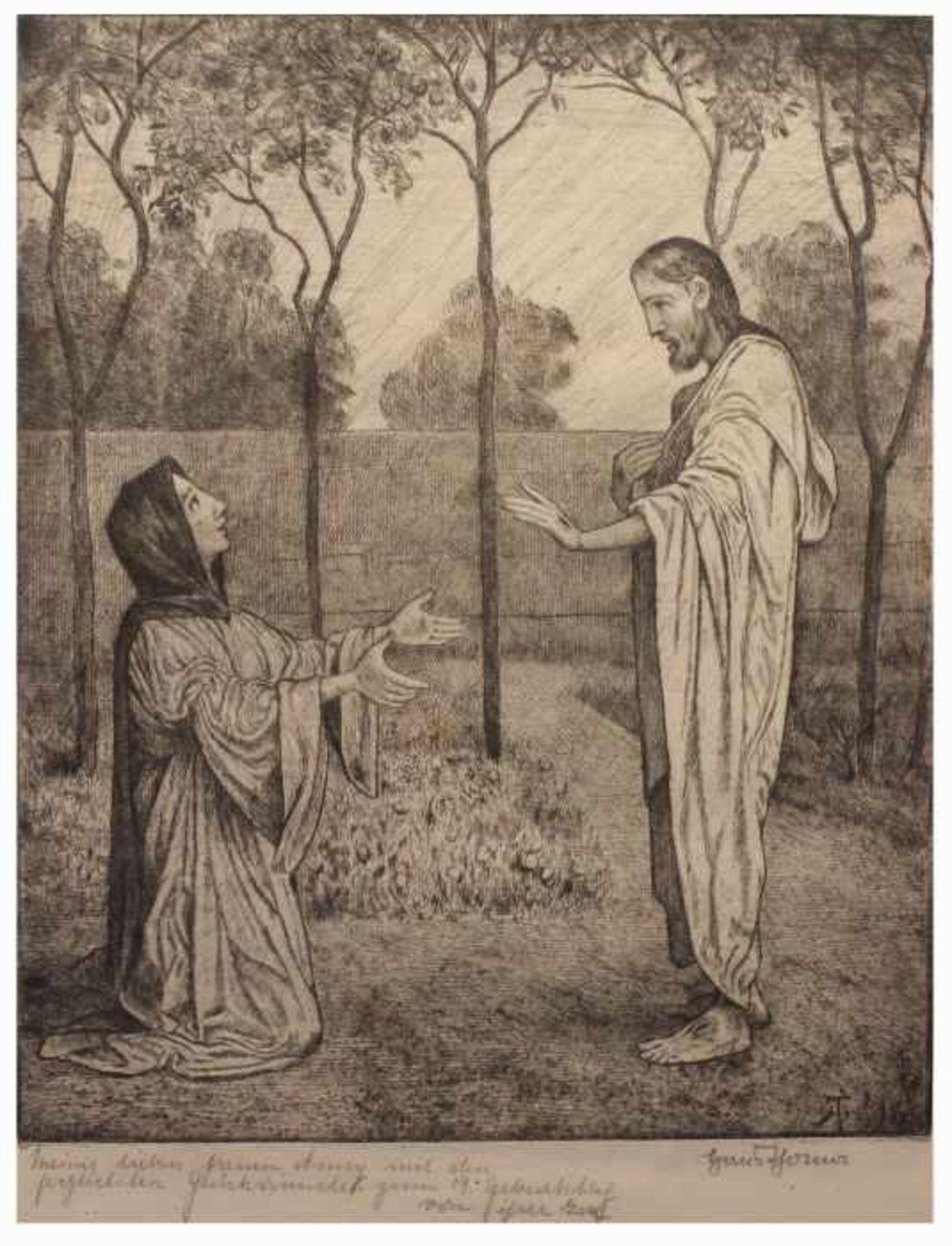 "Los 2 - Radierung - Hans Thoma (1839 Oberlehen / Schwarzwald - 1924 Karlsruhe) ""Sakrale Szene mit Christus"","
