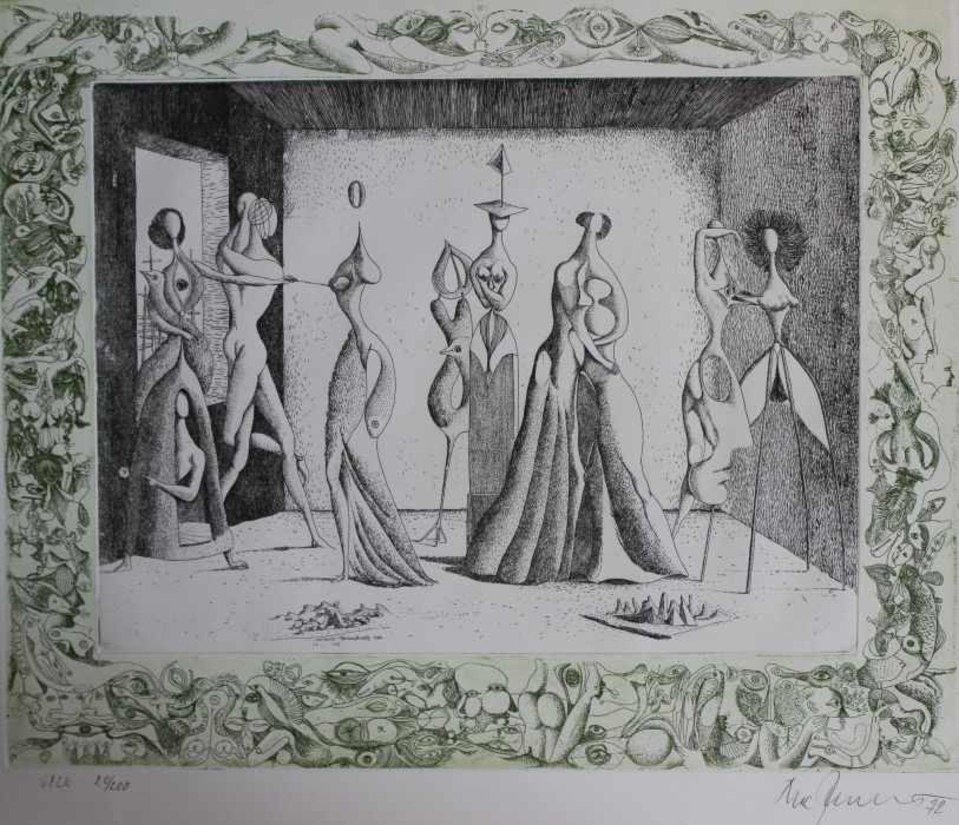 """Los 41 - Radierung - Mac Zimmermann (1912 Stettin - 1995 Wasserburg am Inn) """"Figurengruppe"""", r.u."""