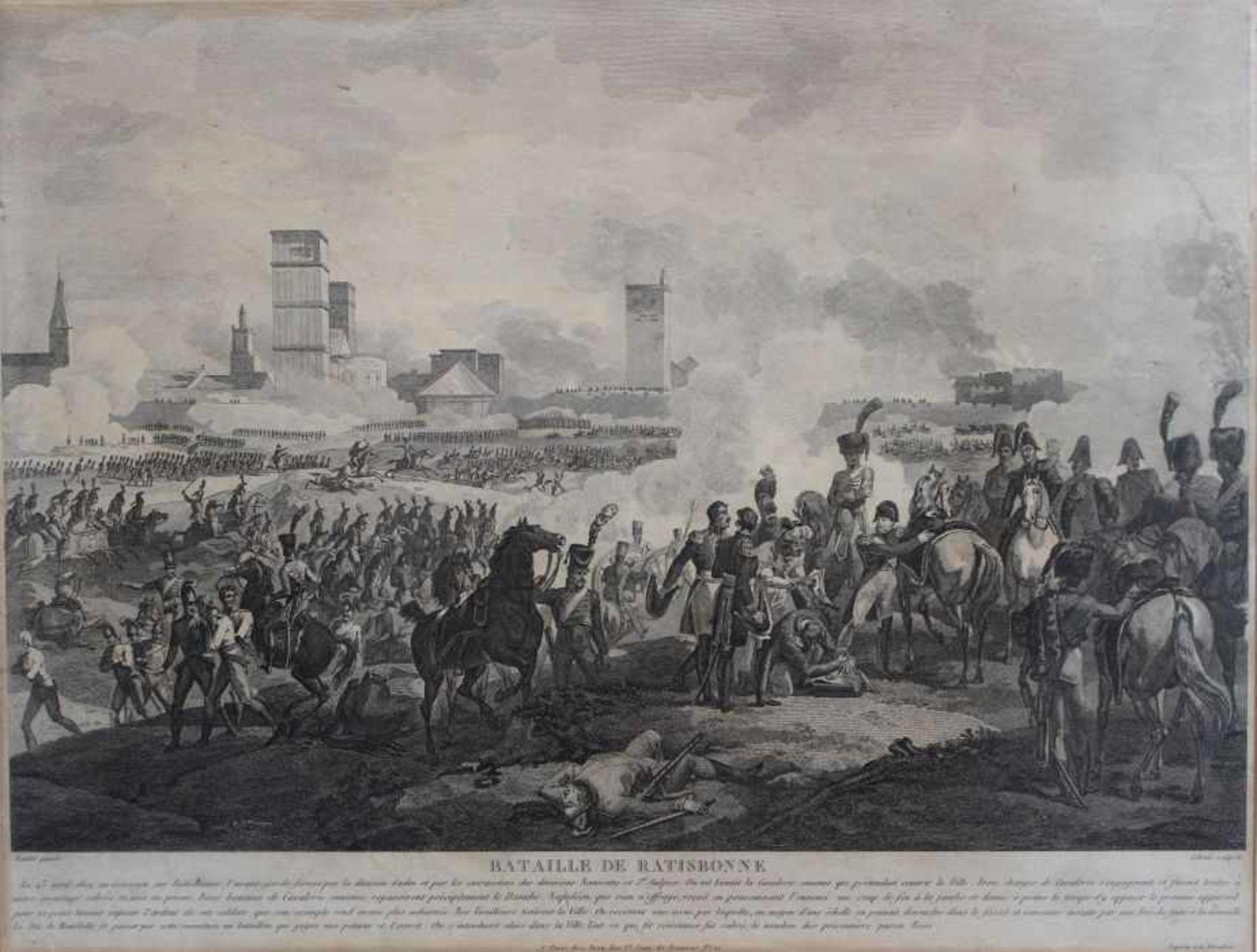 "Los 33 - Grafik nach Naudet - Paris 19.Jahrhundert ""Bataille de Ratisbonne"", Lebeau sculpsit, Plattenmaße ca."