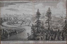 """Kupferstich - Caspar Merian attr. (1627-1686) """"Gelegenheit der Statt Wasserburg /und wie die Königl:"""
