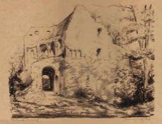 """Lot Grafik von Herbert Molwitz (1901 Blankenhain -1970 Tirschenreuth) 1. Radierung, """"Vorfrühling"""","""