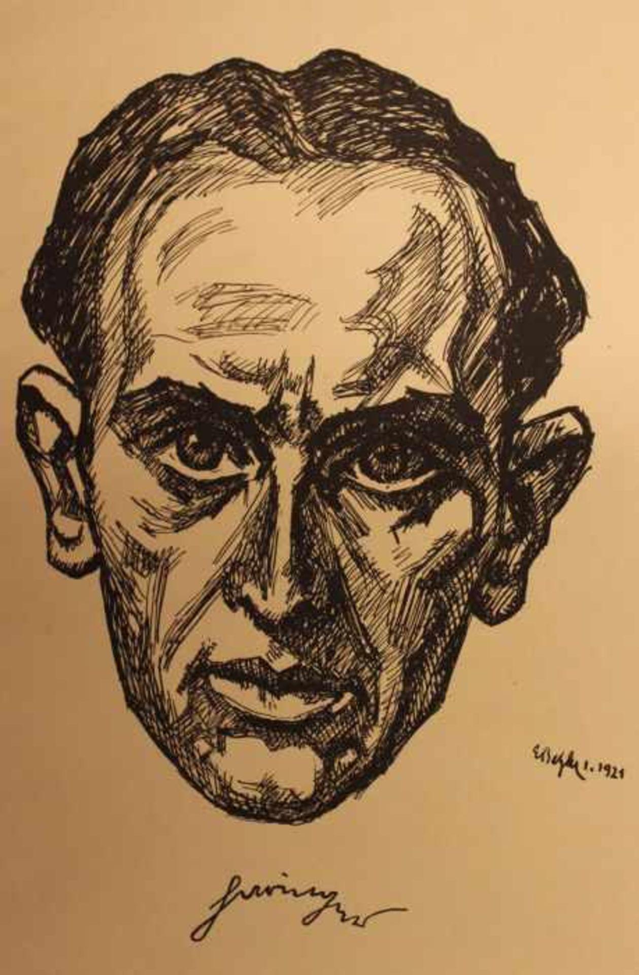 "Los 48 - Grafik - Emil Betzler (1892 Kamen / Westfalen - 1974 Frankfurt a. M.) ""Herrenbildnis, wohl Jakob"