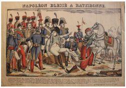 "Grafik - Francois Georgin (1801-1863 / Frankreich) ""Napoleon blessé a Ratisbonne - Verletzung von"