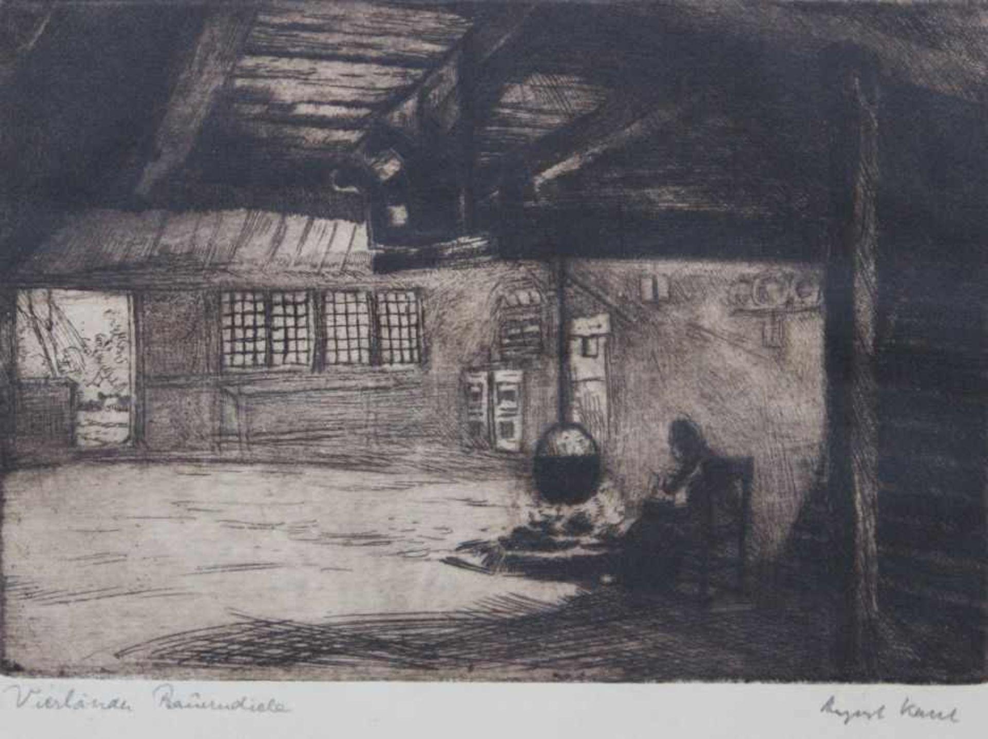 """Los 49 - Lot Graphik 1. Radierung - Georg Kellner """"Herrenbildnis"""", 2. Radierung - Heinrich Fischer, """"Flußlauf"""