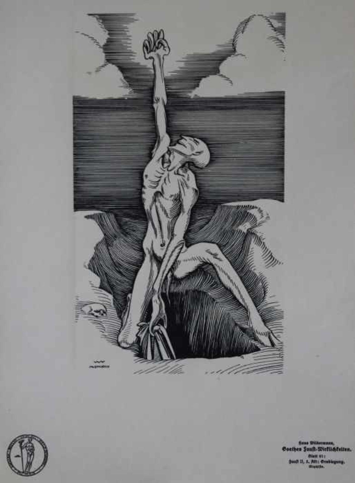 """Los 58 - Mappenwerk - Hans Wilhelm Wildermann (1884 Kalk - 1954 Köln) """"Wirklichkeiten"""", 48 Blätter zu Goethes"""