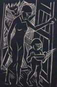 """Holzschnitt - Umkreis Regensburger Expressionismus bzw. """"Die Sichel"""" """"Mutter mit Kind"""","""