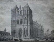 """Lithographie von Domenico Quaglio (1787 München -1837 im Schloss Hohenschwangau) """"Der Dom zu"""