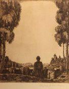 """Radierung - Hubert Wilm (1887 Kaufbeuren - 1953) """"Dame vor Altstadtkulisse"""", r.u. Bleistiftsignatur,"""