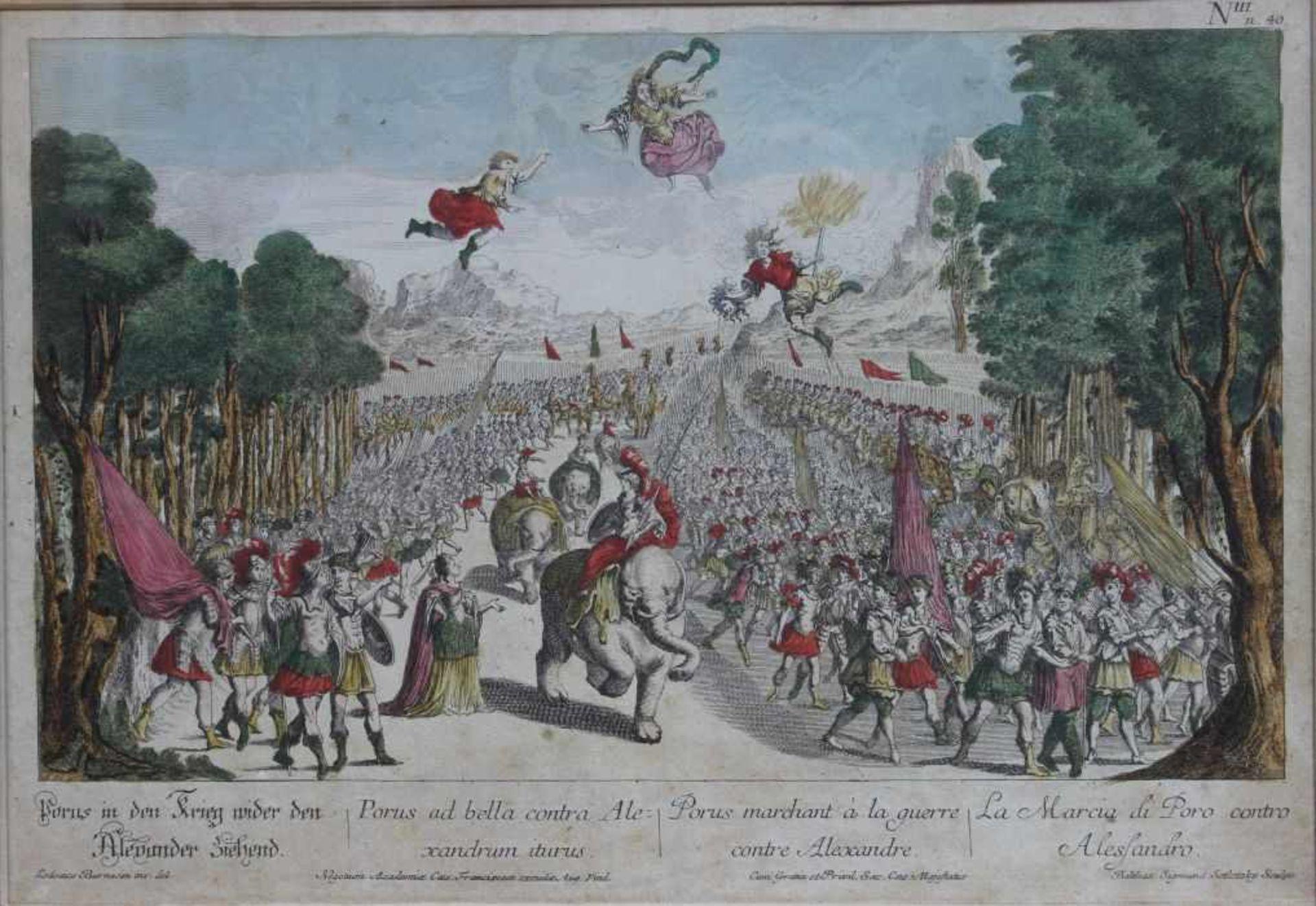 """Los 39 - Radierung - Balthasar Sigmund Setletzky (1695 Augsburg 1771) """"Porus in den Krieg wider den Alexander"""