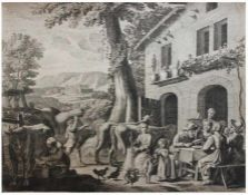 """Kupferstich - Claudine Stella-Bouzonnet (ca. 1630 - Lyon - 1697 Paris) """"Dorfleben in südlicher"""