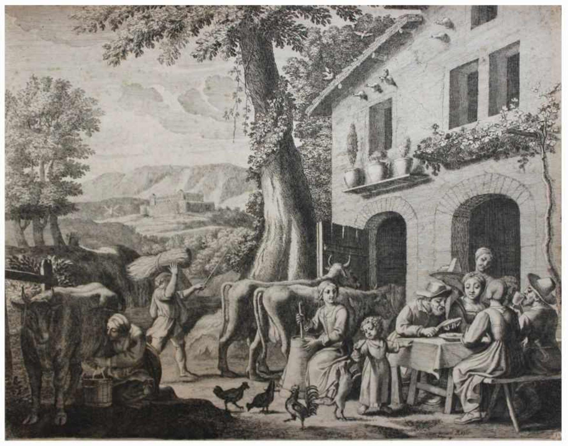 """Los 8 - Kupferstich - Claudine Stella-Bouzonnet (ca. 1630 - Lyon - 1697 Paris) """"Dorfleben in südlicher"""