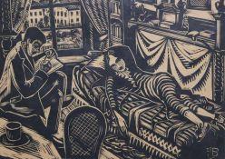 "Holzschnitt - Oskar Birkenbach (1881 Schweinfurt - 1948 Regensburg) ""Im Atelier"", r.u."
