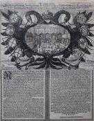"""Kupferstich aus dem 17.Jahrhundert """"Krönungs-Adler von König Ferdinand IV, am unteren Rand"""