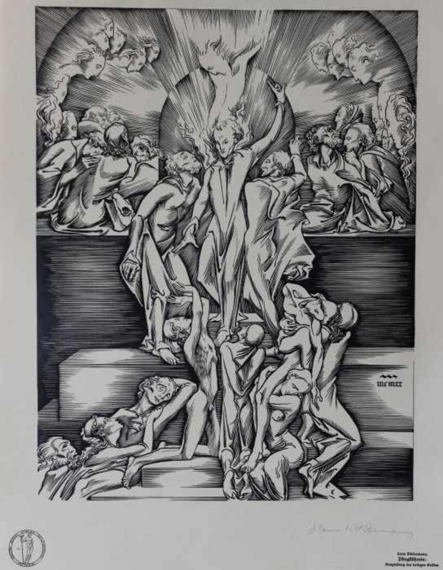 """Los 61 - Mappe - Hans Wilhelm Wildermann (1884 Kalk - 1954 Köln) """"Ein Pfingstschrein"""", Gustav Bosse Verlag"""
