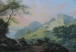 """Lithographie - Emanuel Labhart (1810 Steckborn-1874 Feuerthalen) """"Walhalla gegen Sonnenuntergang"""","""
